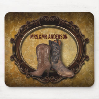 distressed western country cowboy wedding mouse pad