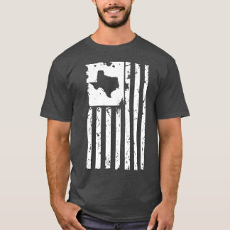 Distressed White American Flag with Texas map T-Shirt