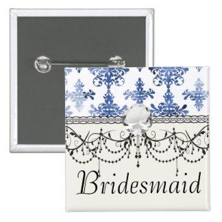 distressed white and royal blue damask pattern 2 inch square button