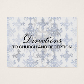distressed white and royal blue damask pattern business card