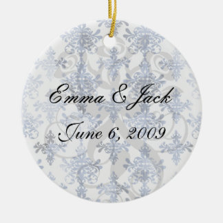 distressed white and royal blue damask pattern ceramic ornament