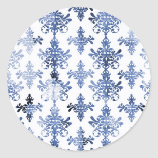 distressed white and royal blue damask pattern classic round sticker