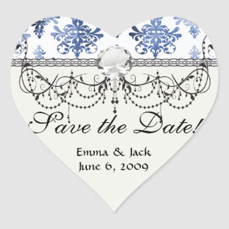 distressed white and royal blue damask pattern heart sticker