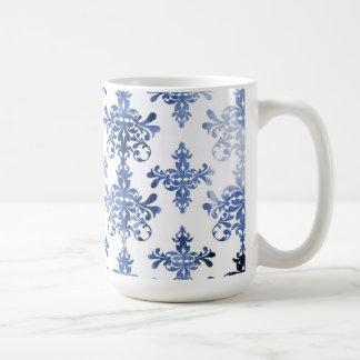 distressed white and royal blue damask pattern classic white coffee mug