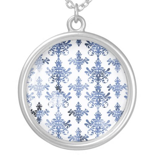 distressed white and royal blue damask pattern custom jewelry