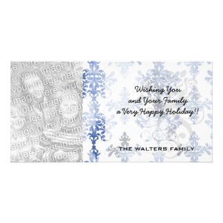 distressed white and royal blue damask pattern custom photo card