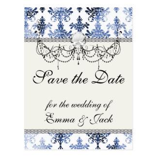 distressed white and royal blue damask pattern postcard