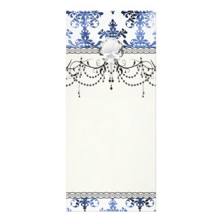 distressed white and royal blue damask pattern rack card template