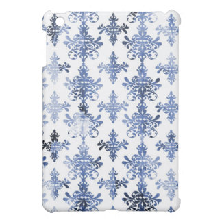 distressed white and royal blue damask pern case for the iPad mini