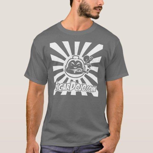 Distressed White Dojo logo on Dark T_Shirt
