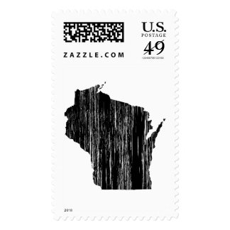 Distressed Wisconsin State Outline Postage Stamp
