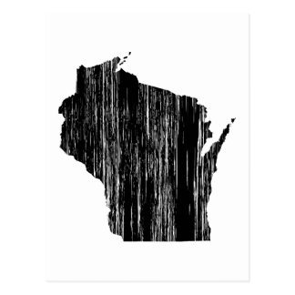 Distressed Wisconsin State Outline Postcard