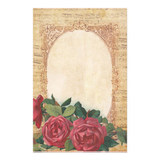 Distressed with Border of Roses and Musical Notes Stationery