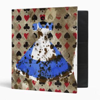 Distressed Wonderland Alice Pattern 3 Ring Binder