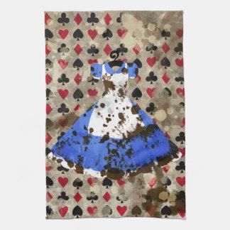 Distressed Wonderland Alice Pattern Kitchen Towels