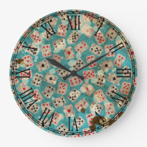 Distressed Wonderland Alice Pattern Large Clock
