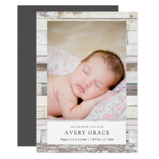 Distressed Wood Birth Announcements