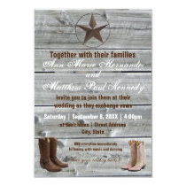 Distressed Wood Cowboy Boots-3x5Wedding Invitation