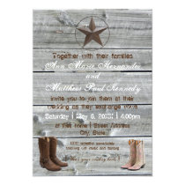 Distressed Wood Cowboy Boots - Wedding Invitation