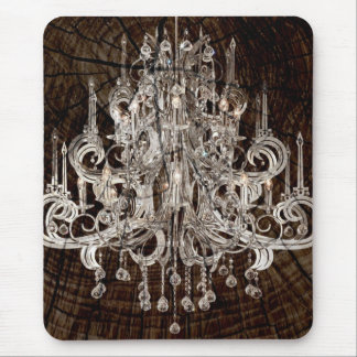 Distressed Wood Grain country Vintage Chandelier Mouse Pad