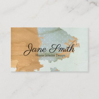 Distressed Wood Mint Polka Dot Aged Background Business Card