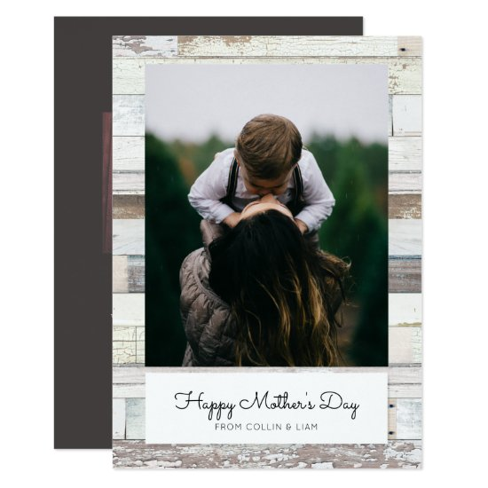 Distressed Wood Mother's Day Photo Card