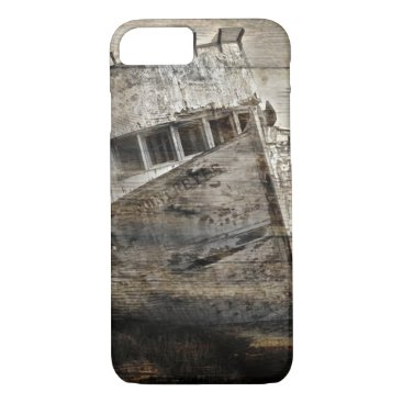 Beach Themed Distressed wood Nautical Sea Shore Rustic sailboat iPhone 7 Case