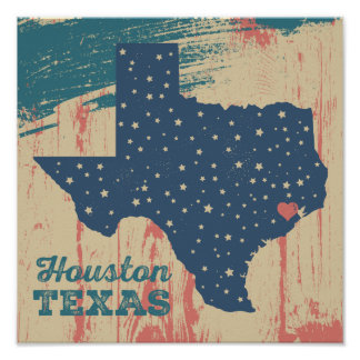 Distressed Wood Poster - Houston Texas