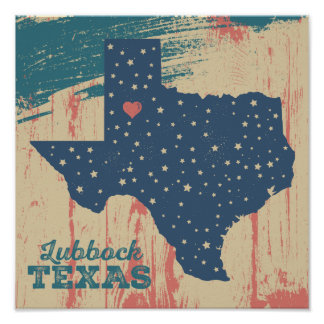 Distressed Wood Poster - Lubbock Texas