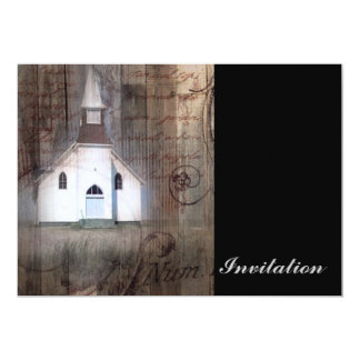 Distressed Wood primitive Rustic country church Card