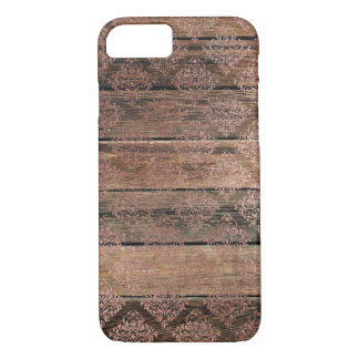Distressed Wood Rose Lace 2 Diamond Pattern Vintag iPhone 8/7 Case