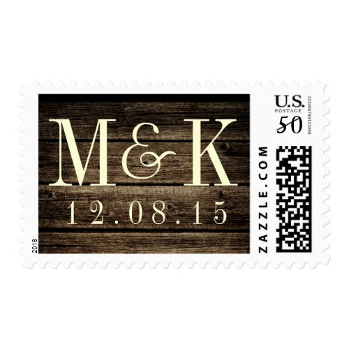 Distressed Wood Rustic Monogram Wedding Stamp