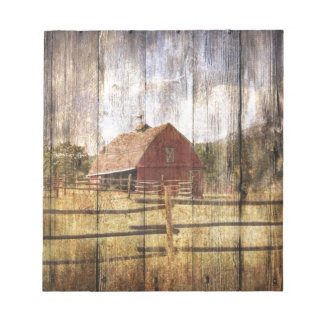 Distressed Wood Rustic Western Country Red Barn Notepad
