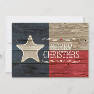 Texas Christmas Cards.Distressed Wood Texas Flag Christmas Card