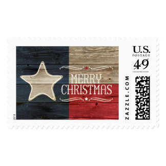 Distressed Wood Texas Flag Christmas Postage