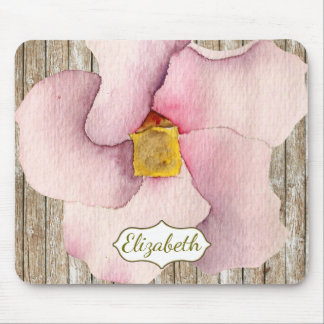Distressed Wood Watercolor Pink Peony Flower Mouse Pad