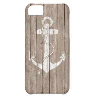 Distressed Wood with Anchor Cover For iPhone 5C