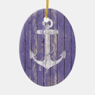 Distressed Wood with Anchor Ceramic Ornament