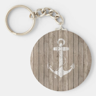 Distressed Wood with Anchor Keychain