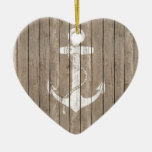 Distressed Wood with Anchor Double-Sided Heart Ceramic Christmas Ornament