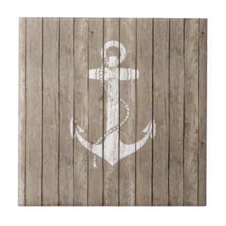 Distressed Wood with Anchor Small Square Tile