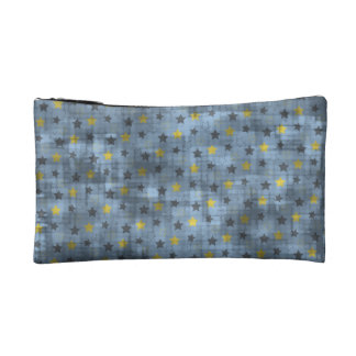 Distressed Yellow And Blue Stars Makeup Bag