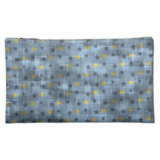 Distressed Yellow And Blue Stars Cosmetic Bags