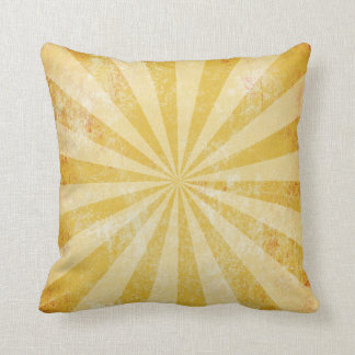 Distressed Yellow Pillow, rays of light, starburst Throw Pillow