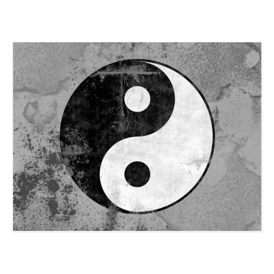 Distressed Yin Yang Symbol Postcard