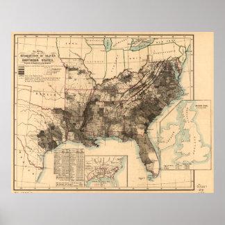 Distribución de esclavos en el mapa 1860 de los póster