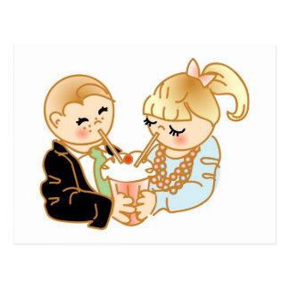Distribución del helado romántico tarjeta postal