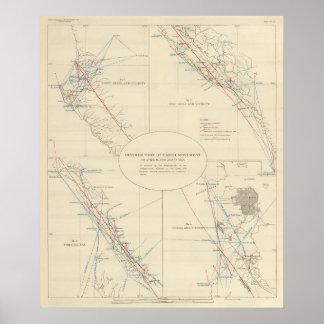 Distribución del movimiento de tierra en Californi Poster