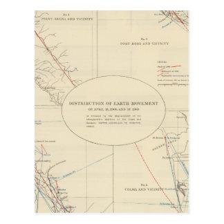 Distribución del movimiento de tierra en Californi Tarjetas Postales