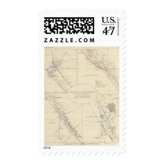 Distribución del movimiento de tierra en timbres postales